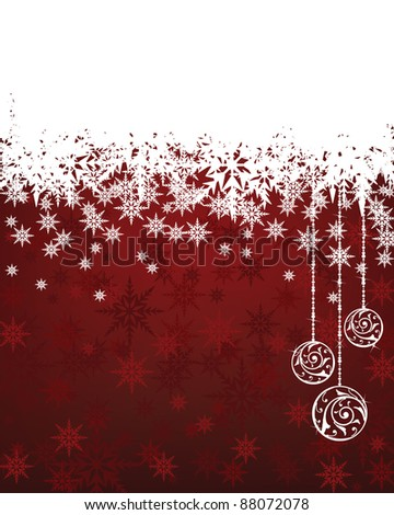 red christmas snowflake background with white panel for your text - stock vector