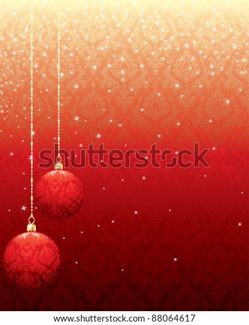 red christmas sparkle pattern background with hanging ornaments - stock vector
