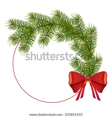 Red Circle and Realistic wreath from Fir Branches with red bows and with free space for text. Happy New Year and Merry Christmas. Ready template for your designer projects. Vector EPS 10 - stock vector