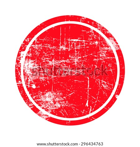 red circle grunge stamp with blank isolated on white background - stock vector