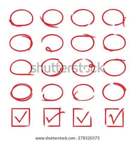 red circle set, hand drawn circles and check marks - stock vector
