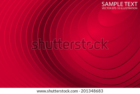 Red circular shiny vector lined background illustration - Vector red abstract shiny circular template - stock vector