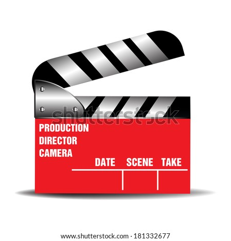 Red clapboard isolated on a white background - stock vector