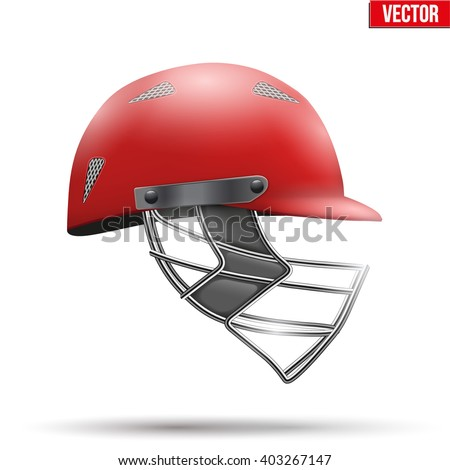 Red Classic Cricket Helmet Side View. Sport symbol and equipment. Vector Illustration isolated on white background. - stock vector