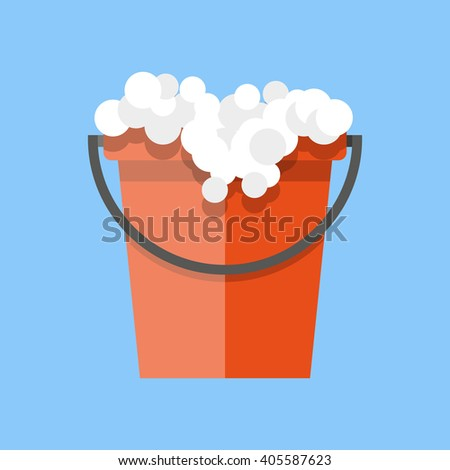 Red cleaning bucket with soap bubbles, cleaning house concept. Bucket for household. vector illustration in flat design on blue background - stock vector