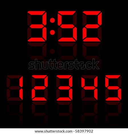 Red Clock Digits Set 2 - stock vector