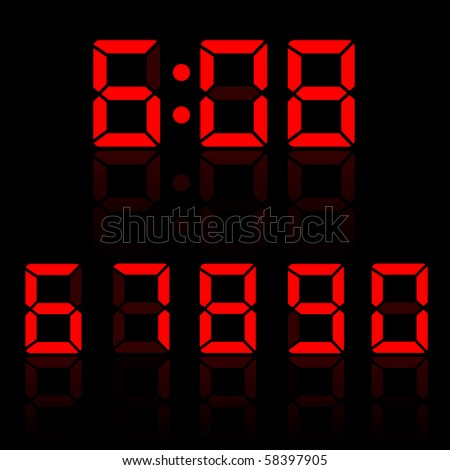 Red Clock Digits Set 1 - stock vector