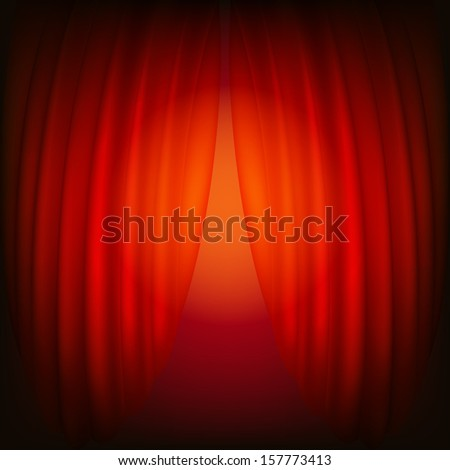 Red closed curtain, abstract background - stock vector