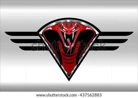 Red cobra on the black winged metallic shield on the silver background - stock vector