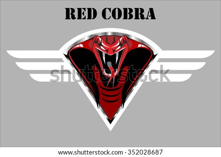 Red Cobra on the white winged diamond shield, over the grey background.  - stock vector