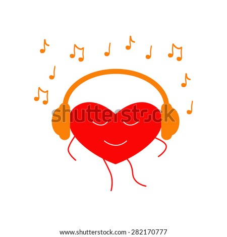 Red colored dancing heart with closed eyes and orange headphones on it and many notes around it isolated on white background. Music fan concept. Logo template, design element - stock vector