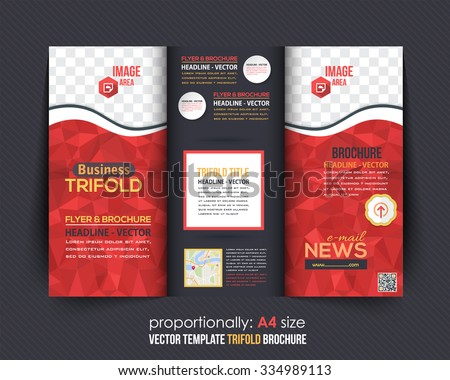 Red Colors Polygonal Geometric Elements Style Business Tri-Fold Brochure Template. Corporate Leaflet, Cover Design - stock vector