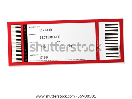 Concert Ticket Psd Red Concert Event Ticket With