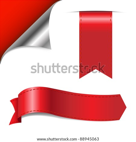 Red Corner And Ribbons, Isolated On White Background, Vector Illustration - stock vector