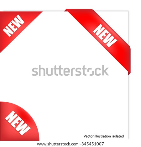 Red corner New text - stock vector