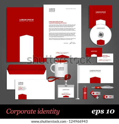 Red corporate identity template with white element. Vector company style for brandbook and guideline. EPS 10 - stock vector