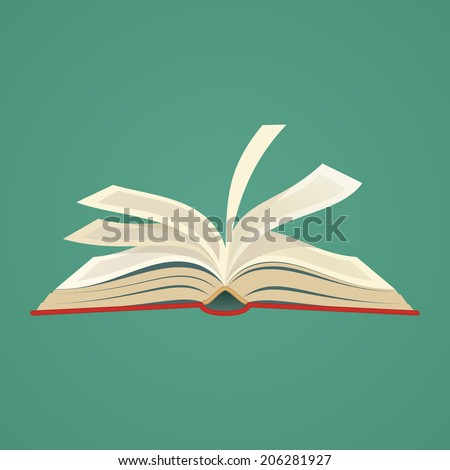 red covered opened book with pages fluttering  - stock vector