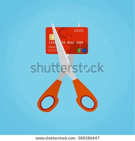 Red credit card cutting by the scissors. Illustration suitable for advertising and promotion - stock vector
