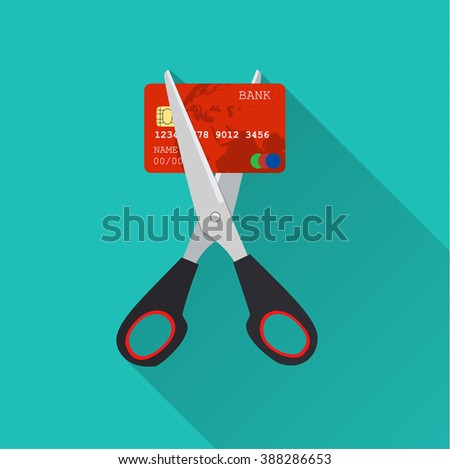 Red credit card cutting by the scissors. Illustration suitable for advertising and promotion. vector illustration in flat design on green background with long shadow - stock vector