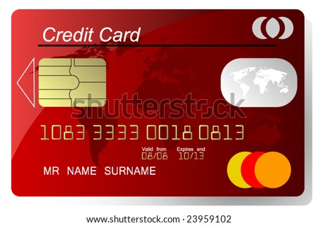 Red credit card vector, highly detailed, vector - stock vector