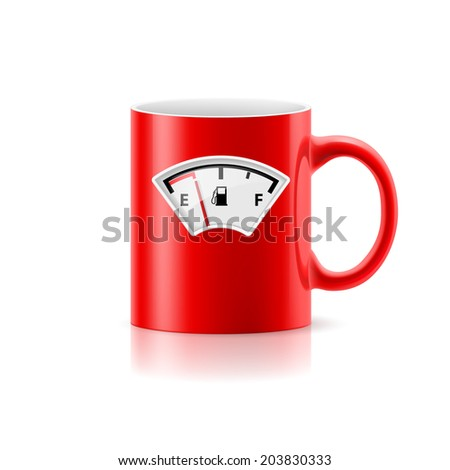 Red cup with picture component of gasoline on  white background - stock vector