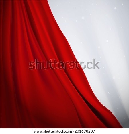 Red curtain background, eps 10 - stock vector