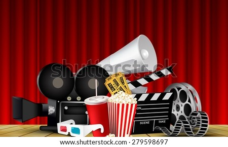Red curtain cinema films and popcorn on the stage  - stock vector