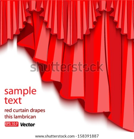 red curtain drapes isolated on white background vector - stock vector