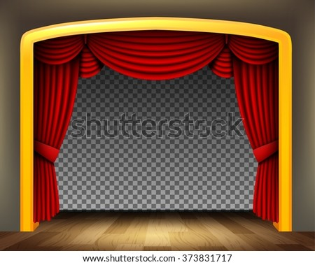 Red curtain of classical theater with wood floor on transparent background - stock vector