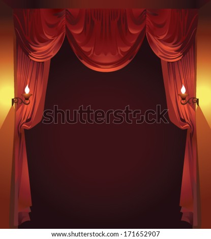 Red curtain on a dark background - stock vector
