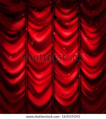 Red curtain, vector background. Illustration contains transparency and blending effects, eps 10 - stock vector
