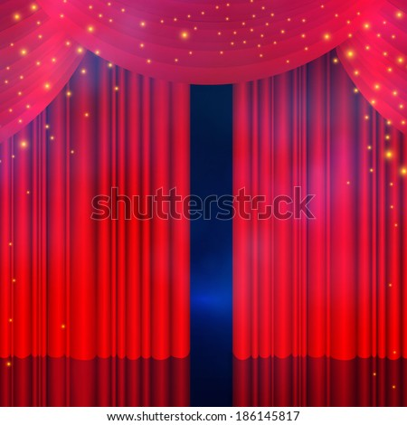 Red curtain with smoke & lights. Vector illustration.  - stock vector