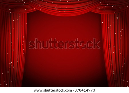 red curtains on red background with glittering stars. open curtains as theater or movie presentation or cinema award announcement with space for text. vector template for Your design - stock vector