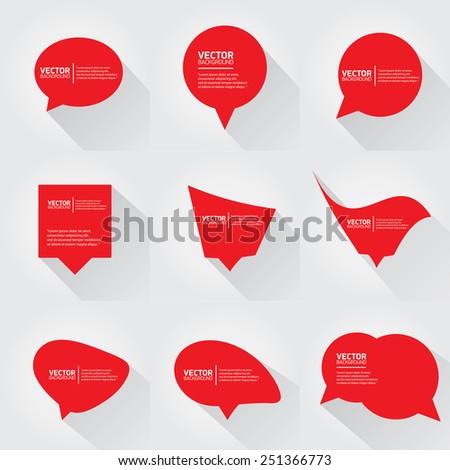 red cut paper speech bubbles on white. speech bubbles set. vector illustration - stock vector