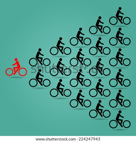 Red cyclists in the opposite direction of the bike is black. - stock vector