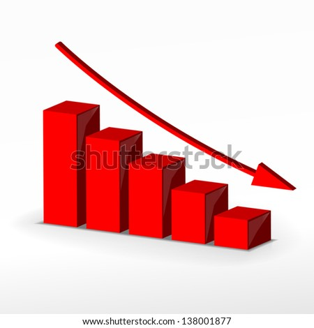 Red 3D graph. Vector. - stock vector