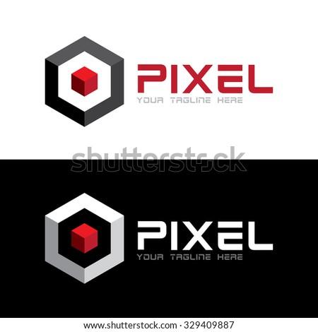Red 3D pixel in hexagon Icon Logo Template - stock vector