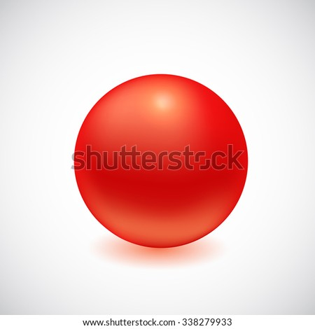 Red 3D sphere isolated on white. Vector illustration for your design - stock vector