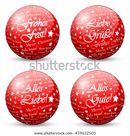 Red 3D Vector Spheres with Mapped Greeting Texture for Holiday Season - Merry Christmas, Love and Kisses in German Language - stock vector