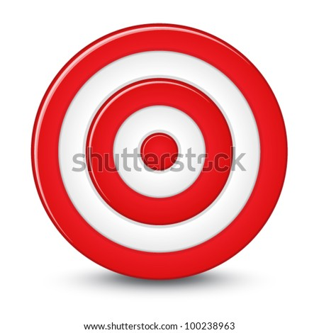 Red darts target aim on white background - stock vector