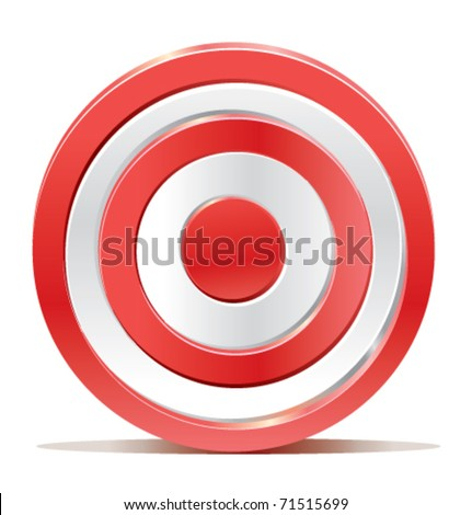 Red darts target aim on white background. Created without transparencies. Only gradients. - stock vector