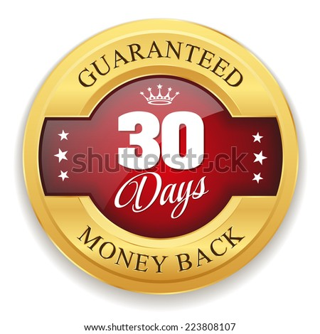 Red 30 days money back badge with gold border on white background - stock vector