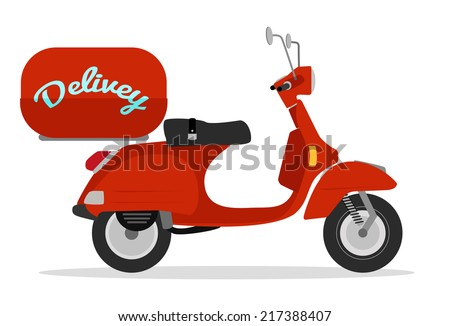 red delivery scooter vintage style  - stock vector