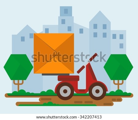 Red delivery scooter with a box on the street. Concept for delivery service.Flat design colored vector illustration. - stock vector