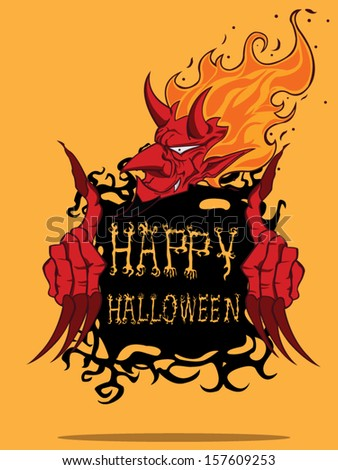 Red Devil. Halloween monster - stock vector