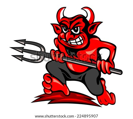 Red devil with trident in cartoon style running on land - stock vector