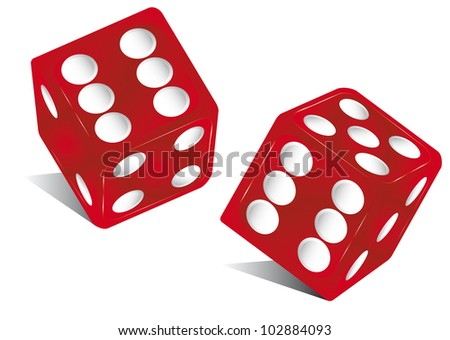 red dice. the die is cast ! - stock vector