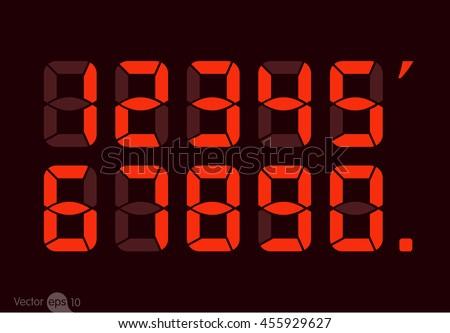 Red Digital numbers - stock vector