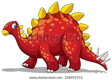 Red dinosaur with spikes tail illustration - stock vector
