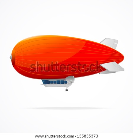 Red dirigible balloon on a white background. Vector illustration - stock vector